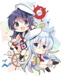 2girls akatsuki_(kantai_collection) bare_arms bare_shoulders binoculars black_sailor_collar blue_eyes chibi dress enemy_lifebuoy_(kantai_collection) hair_between_eyes hat hibiki_(kantai_collection) highres hizuki_yayoi kantai_collection long_hair messy_hair multiple_girls necktie open_mouth purple_hair red_neckwear sailor_collar sailor_dress sailor_hat scallop ship's_wheel silver_hair sleeveless sleeveless_dress smile string_of_flags violet_eyes white_background white_dress white_headwear