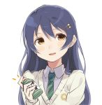 1girl bangs blue_hair blush bottle commentary_request hair_between_eyes hair_ornament holding holding_bottle long_hair looking_at_viewer love_live! love_live!_school_idol_festival love_live!_school_idol_project necktie open_mouth simple_background smile solo sonoda_umi totoki86 upper_body vest white_background yellow_eyes