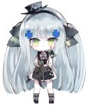 1girl animal apron assault_rifle bangs black_apron black_bow black_cat black_footwear black_hairband blush bow cat checkered checkered_bow chibi closed_mouth commentary_request eyebrows_visible_through_hair facial_mark full_body girls_frontline green_eyes grey_headwear grey_legwear gun h&k_hk416 hair_bow hair_ornament hairband hat hk416_(girls_frontline) holding holding_animal kotatu_(akaki01aoki00) long_hair long_sleeves mini_hat pleated_skirt ribbed_legwear rifle shirt shoes silver_hair simple_background skirt socks solo standing tilted_headwear two_side_up very_long_hair weapon weapon_on_back white_background white_shirt white_skirt