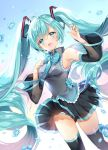 :d aqua_hair breasts flower frills hand_on_own_chest hatsune_miku heart heart-shaped_pupils long_hair medium_breasts nail_polish open_mouth panties pantyshot pingo see-through smile striped striped_panties symbol-shaped_pupils twintails underwear very_long_hair vocaloid