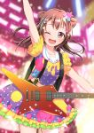 1girl ;d absurdres arm_up bang_dream! bangs blurry blurry_background brown_hair commentary_request confetti cowboy_shot electric_guitar frilled_sleeves frills guitar hair_ornament highres instrument long_hair looking_at_viewer multicolored multicolored_clothes multicolored_shirt multicolored_skirt one_eye_closed open_mouth polka_dot sailor_collar skirt smile solo star star_hair_ornament suspenders toyama_kasumi violet_eyes