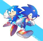 2boys anniversary black_eyes dual_persona gloves green_eyes holding_hands multiple_boys no_humans poroi_(poro586) red_footwear sonic sonic_the_hedgehog thumbs_up