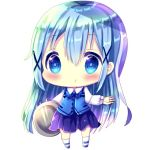 1girl bangs blue_eyes blue_footwear blue_hair blue_neckwear blue_vest blush bow bowtie chibi chocolat_(momoiro_piano) collared_shirt commentary_request eyebrows_visible_through_hair full_body gochuumon_wa_usagi_desu_ka? hair_between_eyes hair_ornament kafuu_chino kneehighs long_hair long_sleeves parted_lips pleated_skirt purple_skirt rabbit_house_uniform shirt simple_background skirt solo standing tray uniform very_long_hair vest waitress white_background white_legwear white_shirt x_hair_ornament