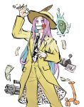 aura balloon balloon_animal belt boater_hat cigar collared_shirt cosplay empty_eyes feet_out_of_frame flag flower flower_in_mouth formal gatling_gun hand_on_headwear hat_feather hata_no_kokoro highres long_hair mask minigun money mouth_hold necktie peroponesosu. purple_hair red_flower red_rose rose shirt smoke standing stanley_ipkiss stanley_ipkiss_(cosplay) suit the_mask touhou violet_eyes weapon white_background yellow_headwear yellow_suit