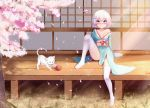 1girl absurdres bare_shoulders blush bow breasts cat cherry_blossoms commentary_request dahe_zhuang_(yishi_fanhua) eyebrows_visible_through_hair full_body hair_ornament highres japanese_clothes kimono looking_at_viewer no_shoes original outdoors pink_bow short_hair sitting small_breasts solo thigh-highs white_hair white_legwear