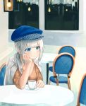 1girl arm_support bangs blue_eyes blue_headwear blurry blurry_background blush breasts brown_shirt cabbie_hat chair closed_mouth cup depth_of_field eyebrows_visible_through_hair hat head_in_hand highres indoors jacket jacket_on_shoulders long_hair looking_away low_ponytail medium_breasts mitamura on_chair original ponytail saucer shirt sidelocks signature silver_hair sitting smile solo table white_jacket