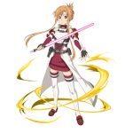 1girl asuna_(sao) beam_saber black_gloves brown_eyes brown_hair closed_mouth dress fingerless_gloves floating_hair folded_ponytail full_body gloves highres holding holding_sword holding_weapon looking_at_viewer official_art red_vest ribbed_sweater shiny shiny_hair sidelocks smile solo standing sweater sweater_dress sword sword_art_online thigh-highs tied_hair transparent_background vest weapon white_legwear zettai_ryouiki