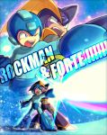 2boys arm_cannon blue_eyes boots firing forte_(rockman) helmet multiple_boys one_eye_closed poroi_(poro586) red_eyes rockman rockman_(character) rockman_(classic) weapon
