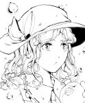 1girl bitten closed_mouth commentary_request eating food fruit greyscale hat highres hiyuu_(flying_bear) long_hair looking_away medium_hair monochrome peach simple_background solo touhou watatsuki_no_yorihime water_drop white_background