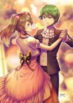 1boy 1girl black_jacket black_pants blue_eyes blurry blurry_background bow braid brown_hair closed_mouth couple dancing dress eye_contact floating_hair green_eyes green_hair hair_ornament hand_on_another's_hip haruka_(pokemon) holding_hands jacket lens_flare long_dress long_hair looking_at_another ooki1089 open_clothes open_jacket pants pink_bow pink_dress pokemon pokemon_(anime) shiny shiny_hair shirt shuu_(pokemon) single_braid smile twintails white_neckwear white_shirt