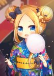 1girl :d abigail_williams_(fate/grand_order) alternate_costume bangs black_bow blonde_hair blue_eyes blue_kimono blurry blurry_background blush bow commentary_request cotton_candy depth_of_field double_bun eyebrows_visible_through_hair fate/grand_order fate_(series) floral_print food forehead hair_bow holding holding_food japanese_clothes kimono long_hair long_sleeves obi open_mouth orange_bow outdoors parted_bangs print_kimono sash sidelocks smile solo stall summer_festival upper_body wide_sleeves yukiyuki_441
