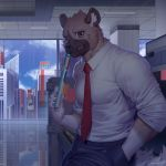 1boy aggressive_retsuko artist_name black_pants blue_sky book brown_eyes building ceiling clouds day furry haida hand_in_pocket holding holding_book hyena looking_at_viewer male_focus necktie office pants raccoon21 reflection scenery shirt sky skyscraper smile solo standing white_shirt window