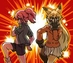 2girls acesrulez animal_ears blonde_hair caesar_anthonio_zeppeli character_request eyebrows_visible_through_hair ezo_red_fox_(kemono_friends) jacket jojo_no_kimyou_na_bouken jojo_pose joseph_joestar_(young) kemono_friends long_hair multiple_girls pink_hair pleated_skirt ponytail pose skirt tail yellow_eyes