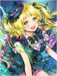 1girl :d alternate_hairstyle bang_dream! blonde_hair blue_eyes blue_headwear blue_skirt blue_vest blush bow bowtie frills hair_ribbon hat hat_bow ito22oji long_hair looking_at_viewer open_mouth purple_bow purple_ribbon ribbon shirt skirt smile solo stitches striped striped_ribbon tsurumaki_kokoro two_side_up vest white_shirt yellow_eyes