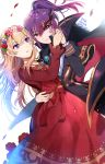 2girls arm_around_waist bang_dream! bangs black_suit blonde_hair blush cape dress head_wreath holding_hands jewelry kongya korean_text long_hair long_sleeves mask mask_on_head masquerade_mask multiple_girls necklace parted_lips petals ponytail purple_hair red_dress red_eyes seta_kaoru shirasagi_chisato sidelocks translation_request violet_eyes