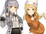 2girls bang_dream! bari_dal beanie belt black_neckwear black_skirt blonde_hair center_frills character_hat_ornament finger_to_mouth frilled_shirt_collar frilled_sleeves frills frown grey_hair half_updo hand_in_hair hand_on_hip hat highres index_finger_raised leaning_forward looking_at_viewer michelle_(bang_dream!) minato_yukina multiple_girls neck_ribbon orange_hair orange_shirt plaid_jacket ribbon shirt skirt smile sweatshirt tsurumaki_kokoro unmoving_pattern white_background white_headwear white_shirt yellow_eyes