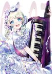 1girl :d absurdres bang_dream! bangs blue_eyes braid choker commentary_request confetti dress frilled_dress frilled_sleeves frills hair_ribbon hairband highres instrument keytar long_hair looking_at_viewer neck_ribbon open_mouth ribbon ribbon_trim short_sleeves sleeve_ribbon smile solo streamers twin_braids twitter_username wakamiya_eve white_choker white_dress white_hair white_neckwear white_ribbon wristband zassou_(ukjpn)