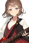 1girl alternate_hairstyle bang_dream! bari_dal braid brown_hair dress electric_guitar guitar hair_ornament half-closed_eyes highres instrument jacket looking_at_viewer medium_hair music playing_instrument raglan_sleeves red_dress shirt side_braid smile solo star star_hair_ornament star_print toyama_kasumi upper_body violet_eyes white_shirt