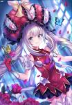 1girl bangs black_skirt blue_blood_moon blue_eyes blurry blurry_background blurry_foreground blush boots bug butterfly cowboy_shot dutch_angle eyebrows_visible_through_hair fate/grand_order fate_(series) flower gloves grin highres holding holding_flower insect long_hair looking_at_viewer marie_antoinette_(fate/grand_order) miniskirt pleated_skirt red_flower red_gloves red_rose red_shirt rose shirt silver_hair skirt sleeveless sleeveless_shirt smile solo standing thigh-highs thigh_boots very_long_hair white_footwear zettai_ryouiki