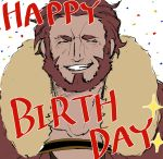 1boy armor beard birthday blush cape english_text facial_hair fate/zero fate_(series) fur_collar highres leather male_focus nazunazu_0 redhead rider_(fate/zero) simple_background sketch smile teeth upper_body