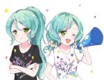 2girls ;d aqua_hair bang_dream! black_shirt blush clothes_writing confetti crossed_arms flower green_eyes hair_flower hair_ornament hair_up highres hikawa_hina hikawa_sayo holding_megaphone kaeru_(pau777) long_hair multiple_girls one_eye_closed open_mouth ponytail shirt short_sleeves siblings sisters smile t-shirt twins twintails upper_body white_flower white_shirt x_hair_ornament