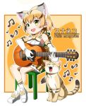 1girl :d animal animal_ear_fluff animal_ears bare_shoulders blonde_hair bow bow_footwear bowtie cat cat_ears chair commentary_request crossed_legs elbow_gloves extra_ears eyebrows_visible_through_hair fang full_body gloves guitar instrument kemono_friends music musical_note open_mouth outline playing_instrument print_gloves print_legwear print_neckwear print_skirt sand_cat sand_cat_(kemono_friends) sand_cat_print scientific_name shirt shoes short_hair sitting skirt sleeveless sleeveless_shirt smile socks solo sumiiisu2324 white_footwear white_outline white_shirt yellow_eyes