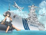 1girl aircraft airplane bare_shoulders battleship black_hair blue_shorts blue_sky cannon clouds commentary_request day flying_boat graphite_(medium) gun h8k highres japan_coast_guard medium_hair mikeran_(mikelan) military military_vehicle original outdoors ship shirt shorts sitting sky sleeveless solo tank_top tiltrotor traditional_media turret v-22_osprey warship watercraft weapon white_shirt yamato_(battleship)