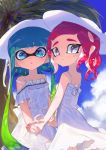2girls amatcha blue_eyes blue_hair blue_sky dress green_hair grey_eyes hat highres holding_hands inkling long_hair looking_at_viewer multicolored_hair multiple_girls octoling open_mouth palm_tree pink_hair pointy_ears shade sky smile splatoon_(series) splatoon_2 sun_hat sundress symbol_commentary tentacle_hair tree two-tone_hair white_dress