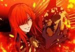1girl black_gloves blood fate/grand_order fate_(series) fire gloves hair_over_one_eye holding_skull long_hair meiji_ken oda_nobunaga_(fate) oda_nobunaga_(maou_avenger)_(fate) red_eyes redhead skull smile twitter_username