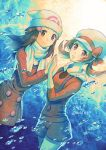 2girls black_hair blue_eyes blue_shorts bow brown_eyes bubble closed_mouth coat coat_dress cowboy_shot hair_ornament hairclip hat hat_bow hikari_(pokemon) kotone_(pokemon) long_hair long_sleeves looking_at_viewer multiple_girls ooki1089 poke_ball_print pokemon pokemon_(game) pokemon_dppt pokemon_gsc pokemon_platinum print_hat red_bow red_coat red_shirt scarf shiny shiny_hair shirt short_shorts shorts smile suspender_shorts suspenders twintails twitter_username underwear white_headwear white_scarf winter_clothes winter_coat