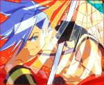 1boy baggy_pants blue_eyes blue_hair chest galo_thymos gloves looking_at_viewer male_focus matahei matoi pants promare shirtless smile spiky_hair