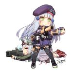 2girls :< =_= assault_rifle bangs beret black_footwear black_legwear black_skirt blue_hair blunt_bangs blush blush_stickers boots breasts chibi closed_eyes closed_mouth commentary dated eyebrows_visible_through_hair facial_mark firing flat_cap g11_(girls_frontline) girls_frontline gloves green_headwear green_jacket gun h&k_g11 h&k_hk416 hair_between_eyes hat heckler_&_koch hk416_(girls_frontline) jacket long_hair long_sleeves looking_away lying multiple_girls nose_bubble object_namesake on_stomach open_clothes open_jacket parted_lips pleated_skirt profile purple_headwear purple_jacket red_footwear rifle signature silver_hair simple_background skirt small_breasts standing tama_yu thigh-highs triangle_mouth v-shaped_eyebrows very_long_hair weapon white_background white_gloves