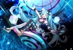 1girl ;d argyle argyle_legwear armband bangs blue_eyes blue_hair bow bowtie commentary confetti detached_sleeves diffraction_spikes finger_gun gloves glowstick hat hatsune_miku hazakura_chikori highres holding holding_microphone long_hair looking_at_viewer magical_mirai_(vocaloid) microphone mini_hat mini_top_hat miniskirt mismatched_legwear one_eye_closed open_mouth pink_neckwear shoulder_tattoo single_detached_sleeve sitting skirt smile solo striped striped_legwear tattoo thigh-highs top_hat twintails vertical-striped_legwear vertical_stripes very_long_hair vest vocaloid wand wedge_heels white_gloves white_headwear