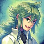1boy :d collared_shirt green_eyes green_hair hair_between_eyes long_hair male_focus n_(pokemon) ooki1089 open_mouth pokemon pokemon_(game) pokemon_bw ponytail shiny shiny_hair shirt smile solo white_shirt wing_collar