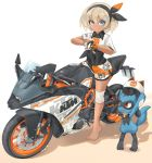 1girl barefoot black_bodysuit black_hairband blue_eyes bodysuit bodysuit_under_clothes color_connection commentary_request dark_skin full_body gloves grey_hair ground_vehicle hairband helmet highres holding holding_helmet holding_poke_ball knee_pads ktm_390_duke mikeran_(mikelan) motor_vehicle motorcycle poke_ball pokemon pokemon_(creature) pokemon_(game) pokemon_swsh riolu saitou_(pokemon) short_hair shorts single_glove straddling thick_eyebrows ultra_ball