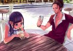 1boy 1girl black_hair braid bubble_tea cellphone chair cup day disposable_cup dolo1327 dress drinking drinking_straw facial_hair hair_ornament hair_scrunchie highres huge_filesize jewelry necklace original outdoors phone ponytail red_shirt scrunchie shirt sideburns sleeveless table watch watch white_dress