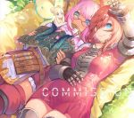 3girls akizone animal_ear_request animal_ears bangs bare_shoulders belt blonde_hair blue_eyes book breasts brown_belt brown_hair collarbone commission double_bun dress eyebrows_visible_through_hair facial_mark fairy fairy_wings final_fantasy final_fantasy_xiv gauntlets glasses green_eyes holding holding_book jacket long_hair looking_at_viewer lying medium_breasts miqo'te multiple_girls on_back pink_dress pink_hair short_dress short_hair smile wings yellow_eyes