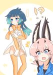 !? ... /\/\/\ 1boy 1girl animal_ear_fluff aqua_hair bangs bare_shoulders black_hair blue_eyes blue_hair blue_vest blunt_bangs blush bow bowtie caracal_(kemono_friends) caracal_ears center_frills commentary_request cosplay costume_switch crossdressing elbow_gloves embarrassed frown gloves gradient_hair hair_between_eyes highres kemono_friends kyururu_(kemono_friends) life_neko72 long_hair looking_away medium_hair multicolored_hair no_pants orange_gloves orange_legwear orange_neckwear pink_hair rectangular_mouth shirt simple_background spoken_ellipsis sweatdrop thigh-highs vest white_shirt