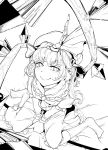 1girl bow brooch crystal flandre_scarlet frilled_shirt frilled_shirt_collar frills hat highres hiyuu_(flying_bear) jewelry medium_hair mob_cap monochrome perspective ribbon shirt short_sleeves solo touhou wings wrist_cuffs
