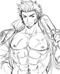 1boy abs bara beard bunkichi_(bun005) chest closed_mouth epaulettes face facial_hair fate/grand_order fate_(series) jacket male_focus muscle napoleon_bonaparte_(fate/grand_order) navel nipples open_clothes open_jacket pectorals scar sketch smile smirk solo upper_body