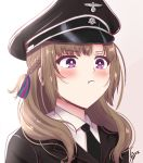1girl brown_hair hair_ribbon hat mature military military_hat military_uniform oosuki_mamako ribbon solo syyn_(syyndev) tsuujou_kougeki_ga_zentai_kougeki_de_ni-kai_kougeki_no_okaasan_wa_suki_desu_ka? uniform violet_eyes