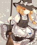 1girl animal_print apron black_headwear black_skirt blonde_hair bow braid broom cat_print chiyu_(kumataro0x0) closed_mouth frilled_apron frills grey_background hair_bow hat hat_bow hat_ribbon highres holding holding_broom kirisame_marisa long_sleeves looking_at_viewer medium_skirt print_apron ribbon shirt short_hair_with_long_locks side_braid single_braid skirt smile solo standing touhou waist_apron white_apron white_bow white_ribbon white_shirt witch_hat yellow_eyes