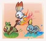 artist_name fire gradient_background grass grookey jumping lizard monkey no_humans pink_background pokemon pokemon_(creature) pokemon_(game) pokemon_swsh rabbit running scorbunny signature sobble water zaffiro_fighter
