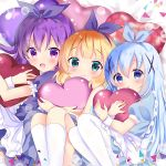 3girls :d :o apron bed_sheet blonde_hair blue_dress blue_eyes blue_hair blue_ribbon blush closed_mouth commentary_request dress frilled_apron frills gochuumon_wa_usagi_desu_ka? hair_ornament hair_ribbon heart kafuu_chino kirima_sharo kneehighs knees_up long_hair lying matching_outfit multiple_girls object_hug on_back open_mouth pantyhose parted_lips puffy_short_sleeves puffy_sleeves purple_dress purple_hair purple_ribbon ribbon rikatan short_sleeves smile tedeza_rize very_long_hair violet_eyes white_apron white_legwear x_hair_ornament