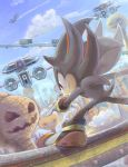 1boy artist_request blue_sky clenched_teeth clouds flying grinding highres mountain pumpkin railing robot shadow_the_hedgehog sky sonic_adventure_2 sonic_the_hedgehog teeth
