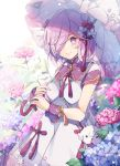 1girl bangs breasts bubble commentary_request double_bun dress eyebrows_visible_through_hair fate/grand_order fate_(series) flower hair_over_one_eye highres hiyunagi holding holding_umbrella lavender_hair looking_at_viewer mash_kyrielight medium_breasts pink_flower purple_hair red_flower red_ribbon ribbon short_hair short_sleeves smile solo umbrella violet_eyes white_dress white_flower