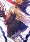 1girl abigail_williams_(fate/grand_order) bangs black_bow black_dress black_headwear blonde_hair bloomers blue_eyes blurry blurry_background blurry_foreground blush bow bug butterfly commentary_request depth_of_field dress fate/grand_order fate_(series) hair_bow hat highres insect long_hair long_sleeves looking_away object_hug orange_bow parted_bangs parted_lips polka_dot polka_dot_bow profile sleeves_past_fingers sleeves_past_wrists solo stuffed_animal stuffed_toy tears teddy_bear underwear very_long_hair white_background white_bloomers witch_hat yano_mitsuki