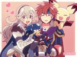 1boy 1girl 2others armor baby_pokemon blue_armor blue_cape blue_eyes blush breasts cape closed_eyes corrin_(fire_emblem) corrin_(fire_emblem)_(female) creatures_(company) cute dark_skin dragon_girl elf fang female_my_unit_(fire_emblem_if) fingerless_gloves fire_emblem fire_emblem:_fuuin_no_tsurugi fire_emblem:_the_binding_blade fire_emblem_heroes fire_emblem_if game_freak gen_2_pokemon gloves hair_between_eyes hair_ornament hairband headband heart hedgehog highres human intelligent_systems kamui_(fire_emblem) kiriya_(552260) long_hair looking_at_viewer mamkute mouse my_unit_(fire_emblem_if) nintendo olm_digital open_mouth pichu pointy_ears pokemon pokemon_(anime) pokemon_(creature) pokemon_gsc pokemon_hgss red_eyes redhead roy_(fire_emblem) sega short_hair silver_hair simple_background smile sonic sonic_the_hedgehog sora_(company) super_smash_bros. super_smash_bros._ultimate super_smash_bros_brawl super_smash_bros_for_wii_u_and_3ds super_smash_bros_melee
