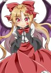 1girl arms_behind_back bangs bat_wings black_vest blonde_hair bow bowtie commentary_request cowboy_shot elis_(touhou) eyebrows_visible_through_hair facial_mark flower hair_between_eyes hair_bow hair_flower hair_ornament highres leaning_forward long_hair long_skirt long_sleeves looking_at_viewer open_clothes open_vest parted_bangs pink_eyes pointy_ears red_bow red_neckwear red_skirt shirt simple_background skirt smile solo standing star sugiyama_ichirou touhou touhou_(pc-98) very_long_hair vest white_background white_shirt wings