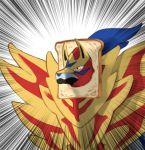blue_fur bread bye_(artist) no_humans pokemon pokemon_(creature) pokemon_(game) pokemon_swsh shield speed_lines wolf yellow_eyes zamazenta